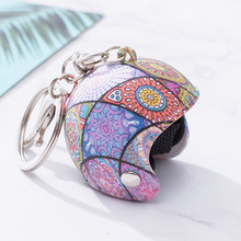 2019 Fashion cartoon Motorcycle Helmet Key chain Ring Gifts for Women Men Car Bag Accessories Kids Toy  Xmas