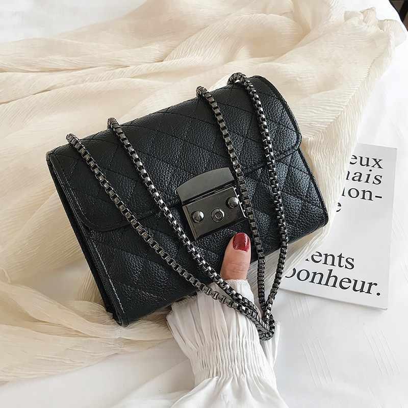 حقيبة صغيرة بسلسلة ساعي البريد للنساء 2019 مصنوعة من جلد البولي يوريثان للسيدات حقائب كروس سوداء بتصميم فاخر للنساء حقيبة كتف صيفية WE12