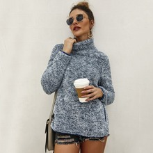 New Women Plush Sweatshirt Coat Solid Color High Collar Long Sleeve Casual Warm Autumn Winter Loose Pullover