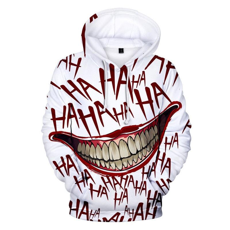 Joker Funny Hoodie Halloween Crazy Smile Pullover Long Sleeve Sweatshirt Fashion Stree Coats Cool Unisex Sportwear Mens Hoodies