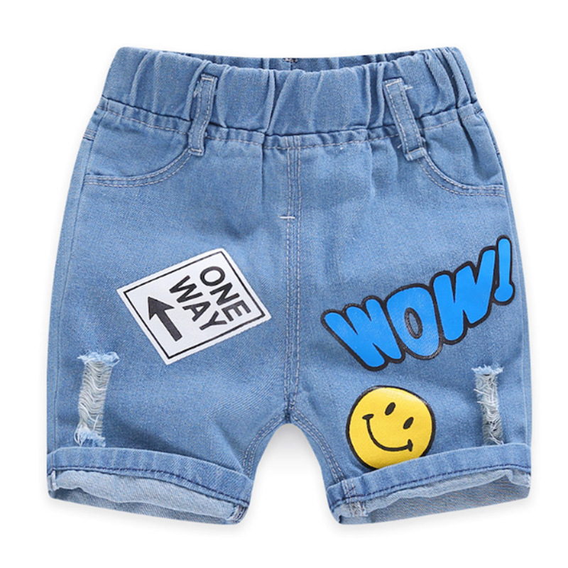 2020 Children Clothing Kids Jeans Summer Shorts Casual Hole Jeans Smiley Cowboy Baby Boy Clothes Cartoon Boys Denim Pants 2-8Y 2