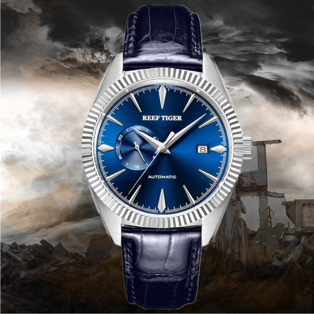 2019 Special price Tiger Reef/RT Automatic Dress Watch Men Top Brand Luxury Leather Waterproof Watch Relogio Masculino+Box RGA16
