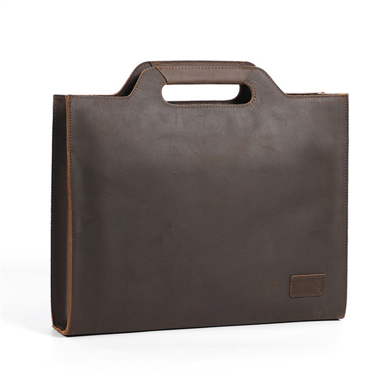 Nesitu High Quality Vintage Brown Thick Genuine Crazy Horse Leather A4 Men Briefcase Shoulder Messenger Bag Male Portfolio M6003
