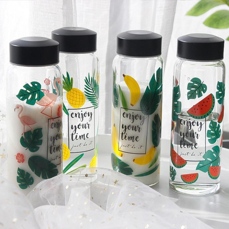 Flamingo Obst Glas Wasser Flasche 500ml Wärme Beständig Glas Saft Milch Krug Topf Tragbare Reise Camping Drink 4 Arten