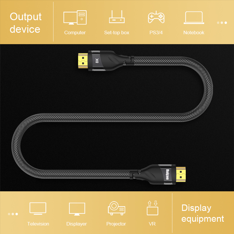 lowest price HDMI 2 1 cable 4K 120HZ hdmi High Speed 8K 60 HZ UHD HDR 48Gbps cable HDMI Ycbcr4 4 4 Converter for PS4 HDTVs Projectors