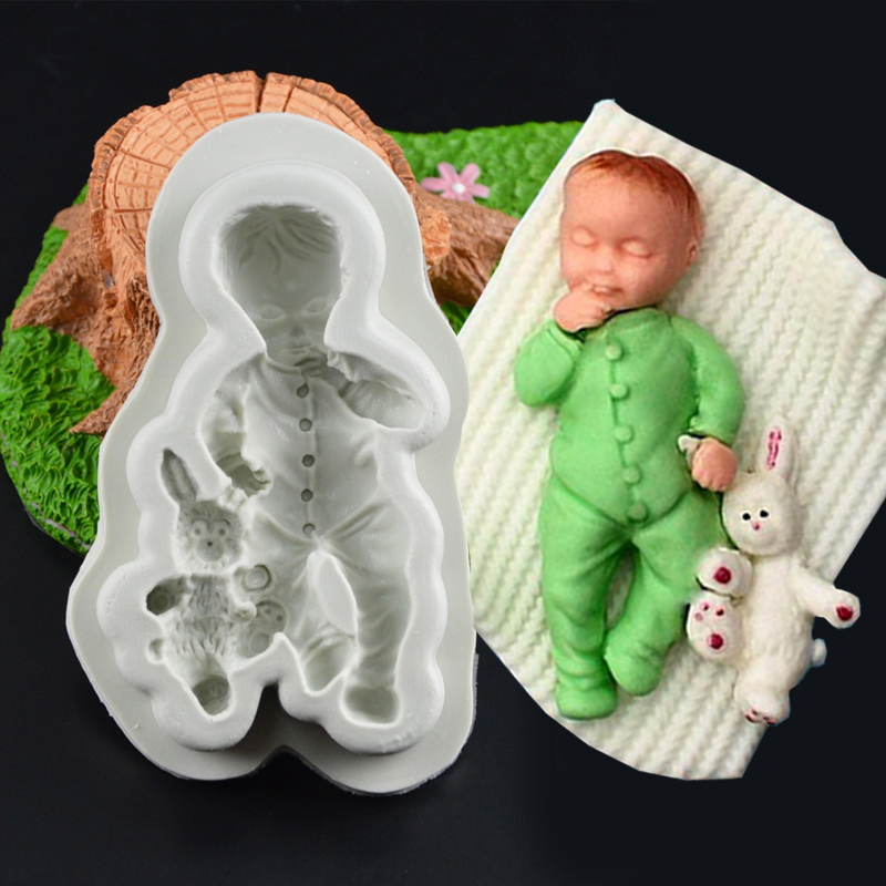 3D Barbie Mold Doll Rabbit Boy Silicone Baking Moulds Cupcake Chocolate Fondant Cute Decorating Tools Cake Party Flexible