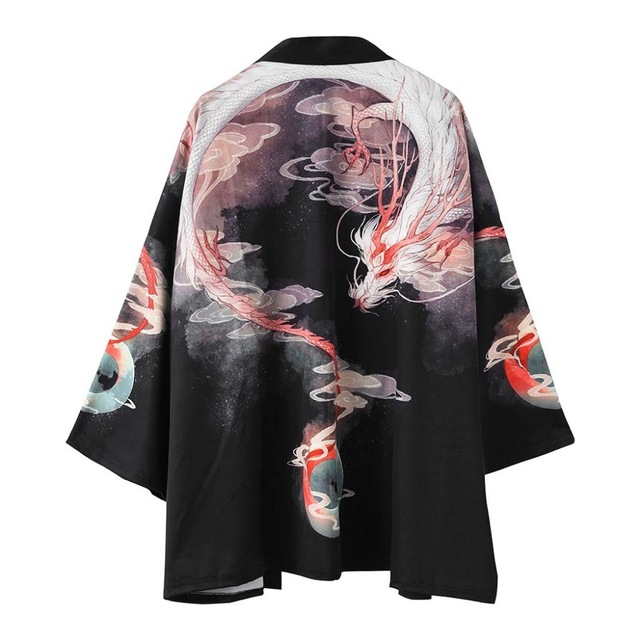 Kimono Gown Men Haori Yukata Jacket Satin Black Haori Samurai New Japanese Kimono Cardigan Male Samurai Costume Clothing