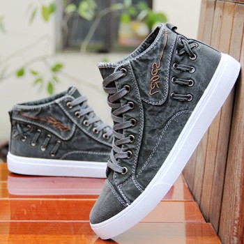 2020 Autumn Summer Men Denim Casual Shoes Fashion Sewing Platform Sneakers Breathable Male High Top Canvas Shoes