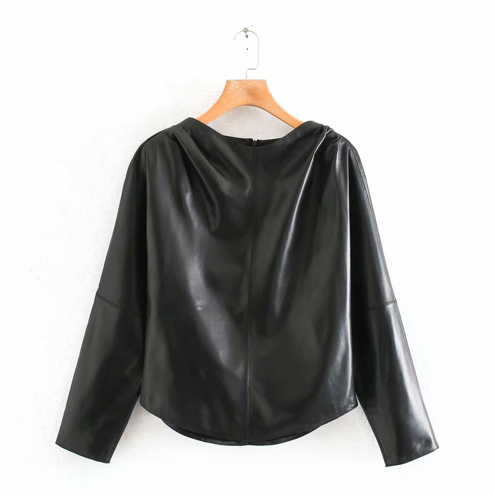 New 2020 Women Vintage PU Leather Casual Smock Blouse Office Lady Back Zipper Shirts Chic Pullover Chemise Femininas Tops LS6170