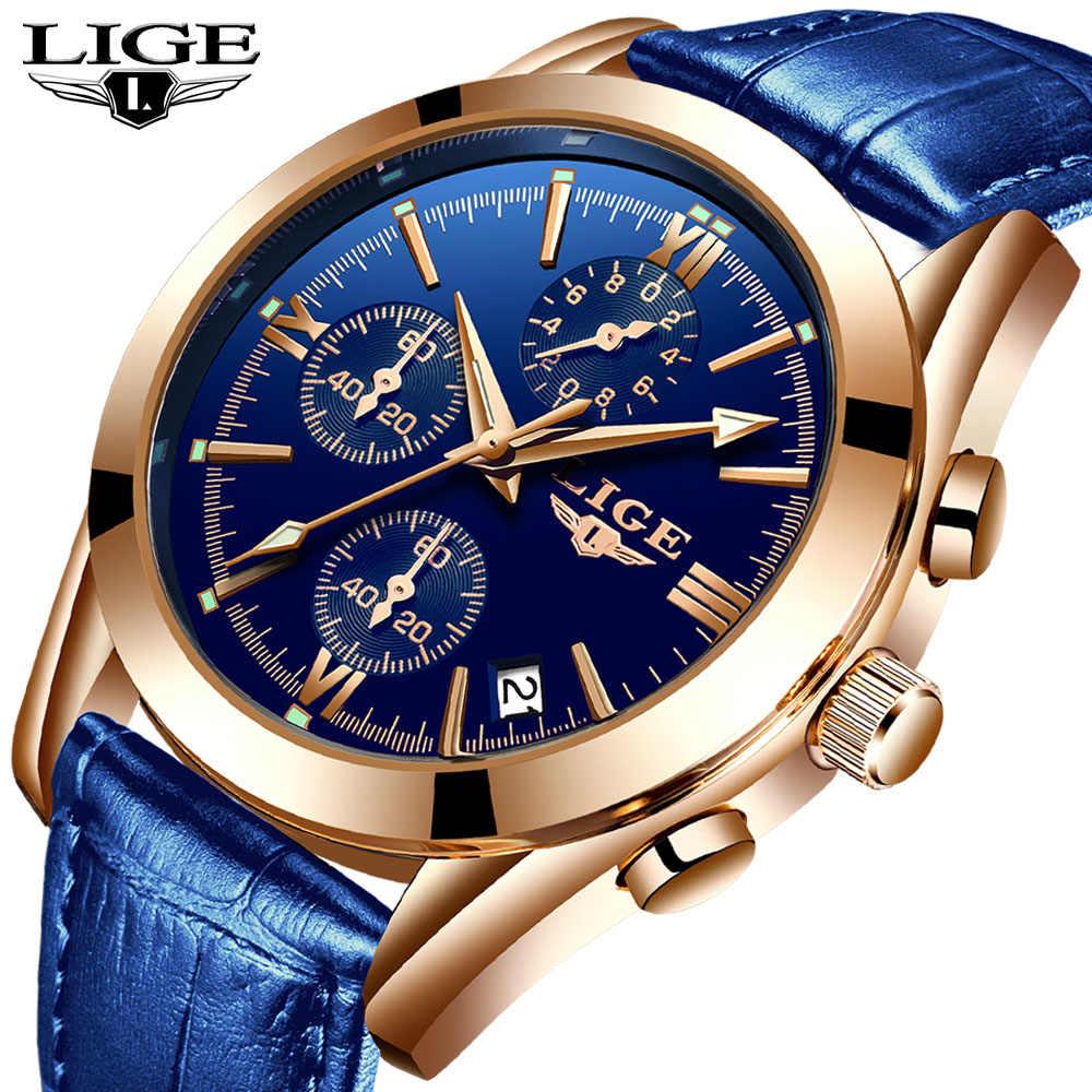 2020 새로운 lige 블루 캐주얼 가죽 패션 쿼츠 골드 시계 남성 시계 브랜드 럭셔리 럭셔리 방수 시계 relogio masculino + box