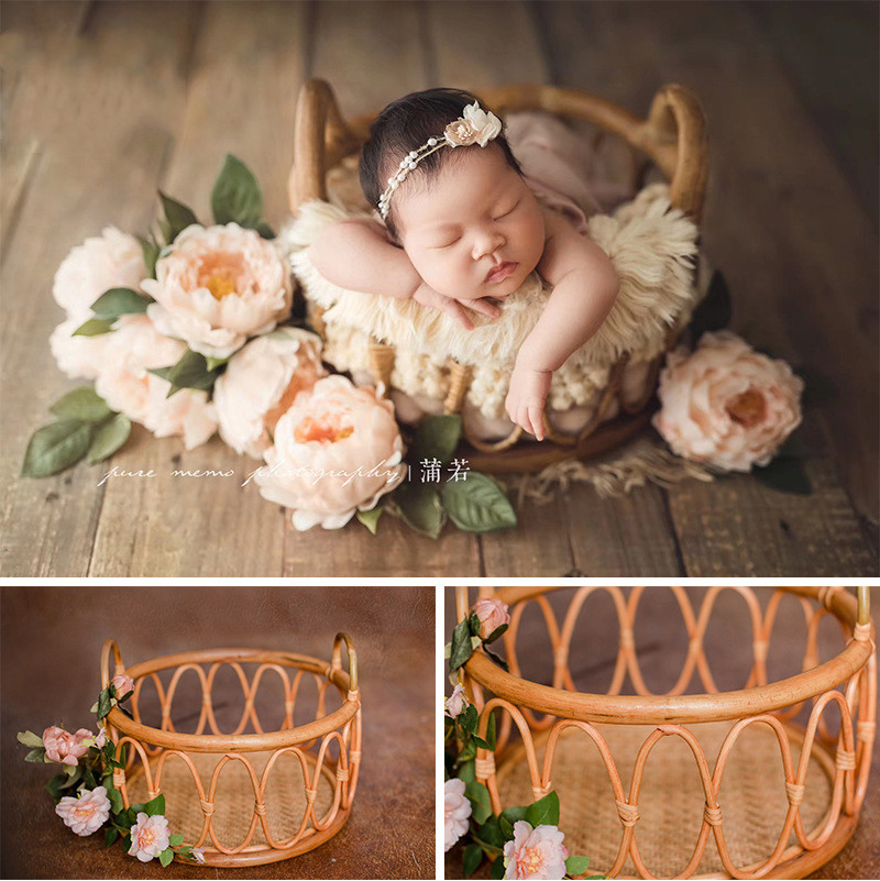 New Fashion Retro Baby Pot Holder Container Studio Photo Woven Basket Baby Photo Auxiliary Props Newborn Photography Props