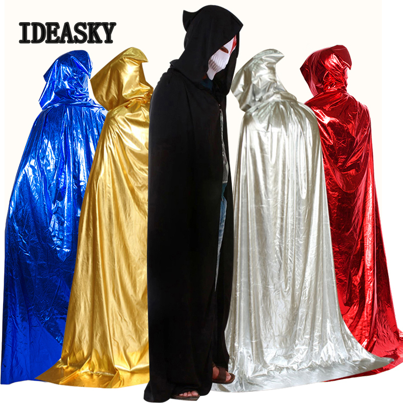 Medieval Vampire Metallic Satin Hooded Cloak Wicca Robe Halloween Witch Cape