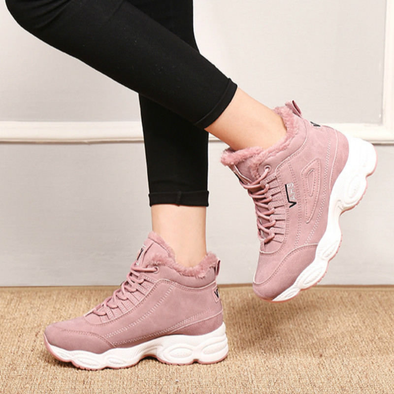 Image 2 - SWONCO  Women Winter Shoes Velvet Fur Platform Sneakers Black/white 2019 New High Top Female Casual Shoes Cotton Padded SnowWomens Vulcanize Shoes   -