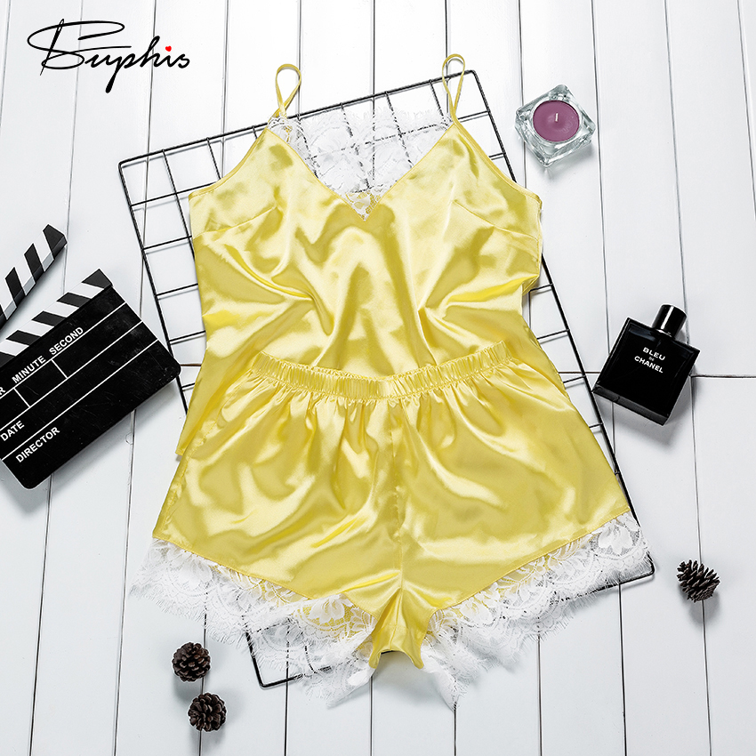 Suphis Sexy Lace V Neck Yellow Satin Sleepwear Women Casual Solid Spaghetti Strap Sleeveless Top Shorts PJ Set Home Clothes
