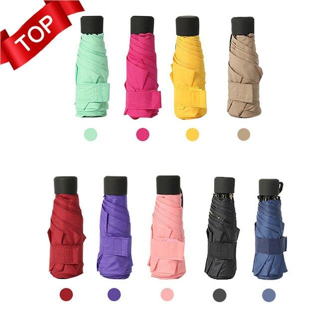 Sıcak 18 renk Mini cep şemsiye kadın UV küçük şemsiye şemsiye kızlar Anti UV su geçirmez taşınabilir Ultralight seyahat Dropship