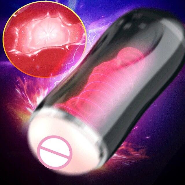 Men's Masturbation Cup Penis Sucking Smart Digital Display Female Pussy Simulator Delayed Ejaculation Trainer Massage Sex Toys 1