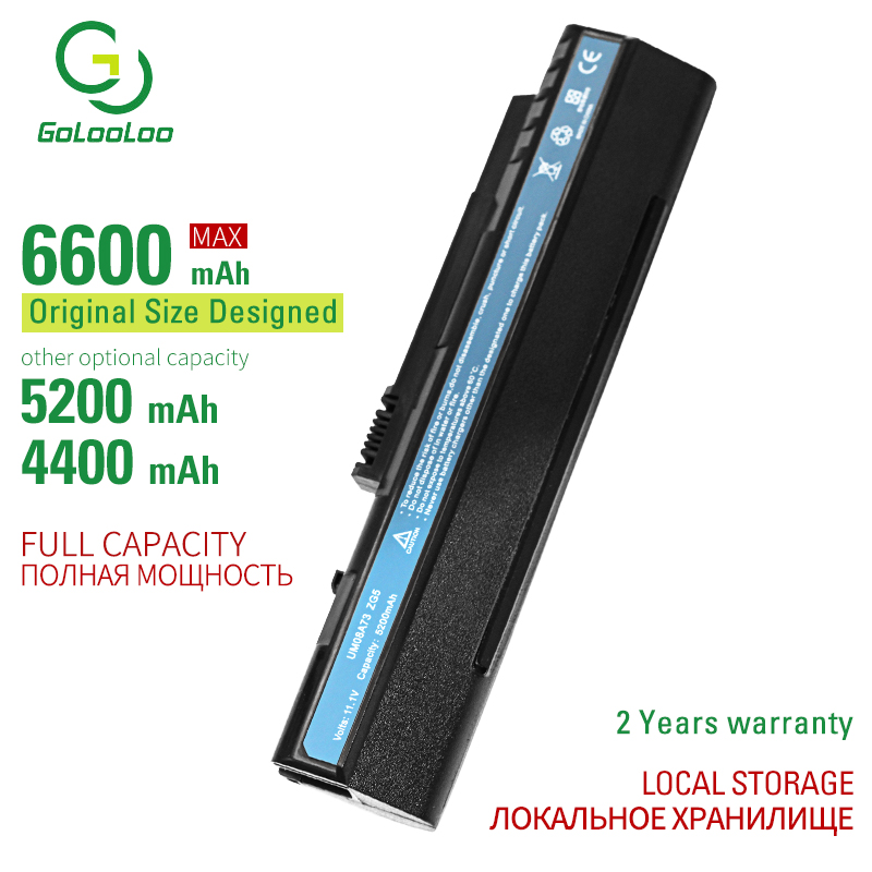 Golooloo 6 Cells Laptop Battery For Acer Aspire One 10.1  8.9  A110 A150 D150 D250  KAV10 KAV60 P531h Zg5  EMACHINES EM250