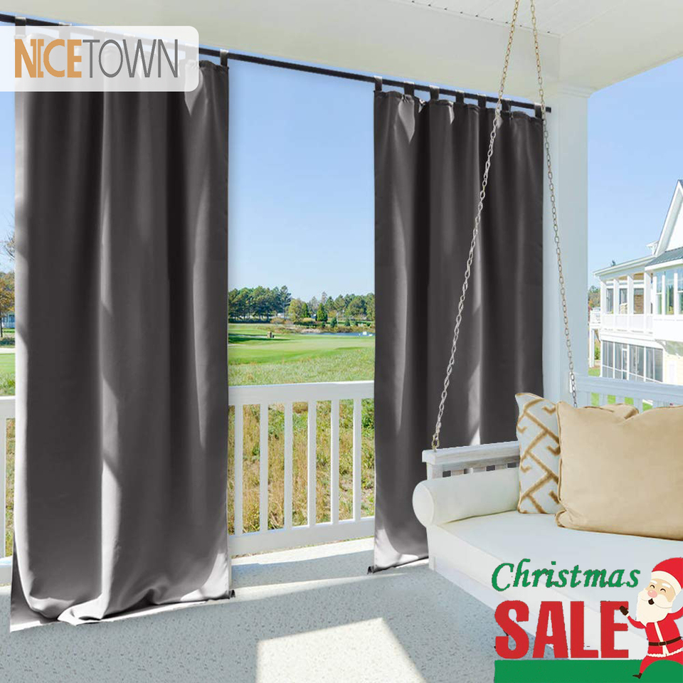 Nicetown Waterproof Blackout Patio Outdoor Garden Curtain Tab Top Grommet Thermal Insulated Outdoor Curtains For Beach Gazebo Tab Top Outdoor Curtainscurtain Panels Aliexpress - Outdoor Vorhang Terrasse