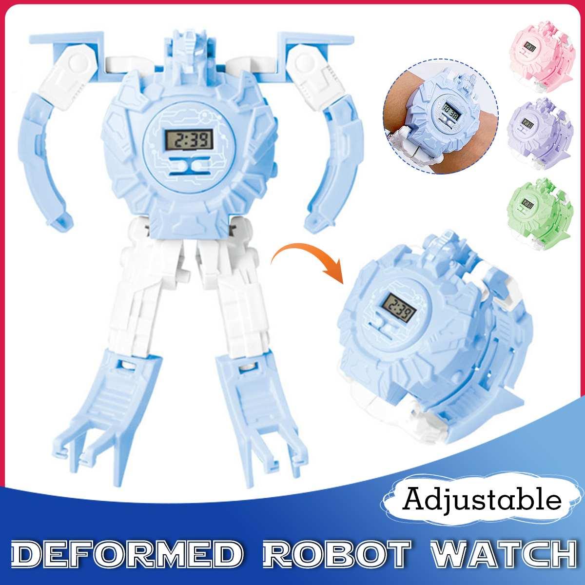 Children Kids Watch Telescopic Deformation Robot Toys Digital Watch Child Watches Gifts For Student Boys Girls Wrist Watch