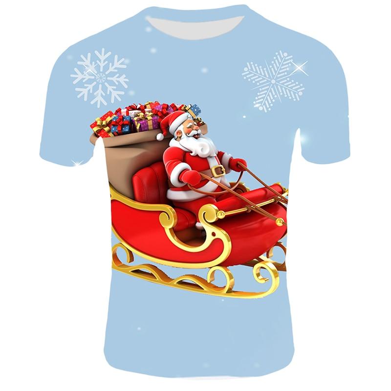 Модные футболки с рождественским узором, мужские Забавные футболки с принтом Санта-Клауса, повседневные 3d футболки, вечерние футболки со снеговиком, одежда с коротким рукавом - Цвет: T24
