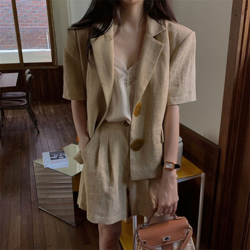 HziriP 2020 Khaki Cotton Thin Linen Casual Minimalist OL Chic Blazers+High Waist Sexy Wide Leg Shorts Suits Women 2 Piece Sets