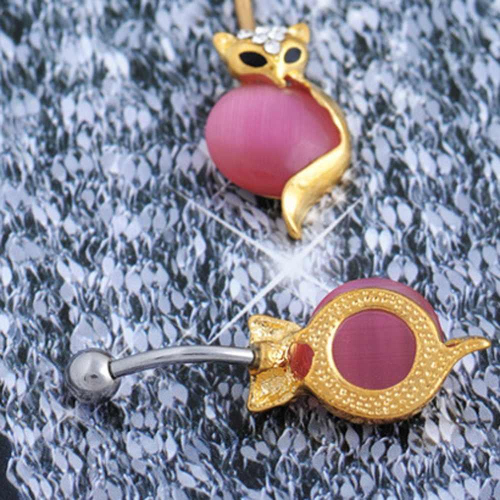 Fantezi Doğal Kristal Altın Renk Kitten Şekilli Göbek Göbek Ring Büyüleyici göbek takısı Aksesuarları