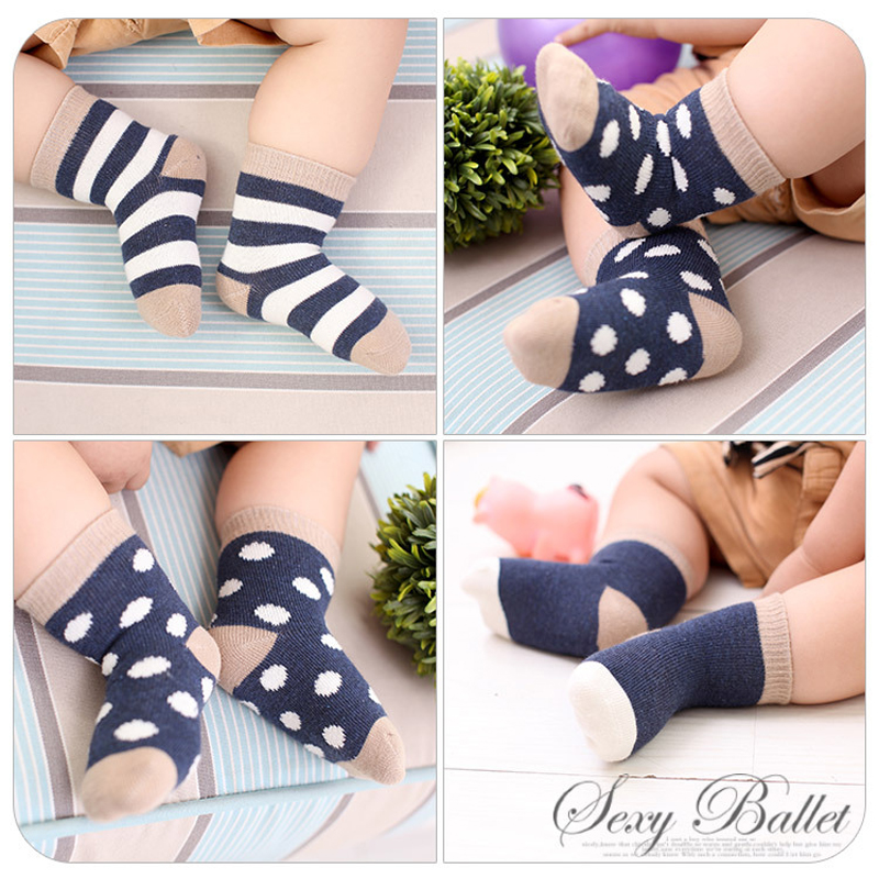 5 Pair/Lot Kids Soft Cotton Socks Boy Girl Baby Cute Cartoon Warm Stripe Fashion Sport For Spring Summer Autumn Winter Children 3
