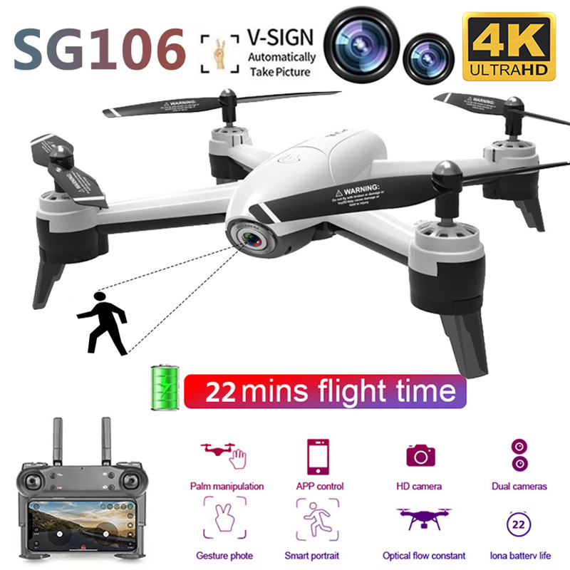 SG106 RC Drone Optical Flow 4K 1080P HD Dual Camer Gesture Photos Video Altitude Hold WiFi FPV Selfie RC Quadcopter Toys for Kid