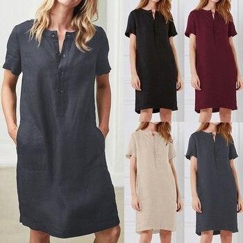 Women O Neck Short Sleeve Cotton Linen Casual Knee Length Dresses Plus Size Vestidos Ropa Mujer Talla Grande