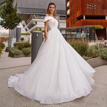 Shinny Tulle White Off Shoulder Wedding Dress Ball Gown Elegant Sweetheart Lapel Luxury Bridal Dresses For Bride 2021 Summer