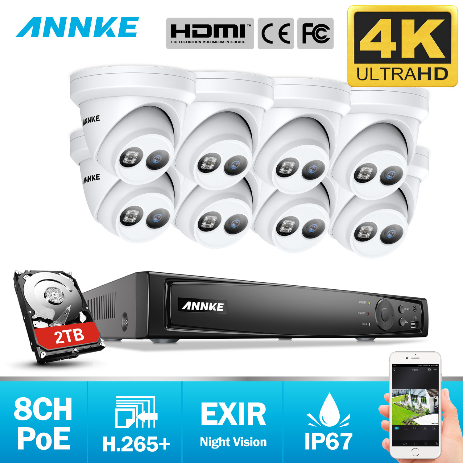 ANNKE 8CH 4K Ultra HD POE Network Video Security System 8MP H.265+ NVR With 8pcs 8MP Weatherproof IP Camera CCTV Security Kit-in Surveillance System from Security & Protection