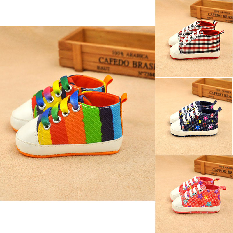 Canvas Newborn Baby Shoes Boy Girl Soft Anti-Slip Rainbow Striped First Walkers Canvas Shoes Infant Toddler Shoes