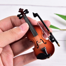 Violin Collection Musical-Instruments Wooden with Support Miniature Decorative-Ornaments