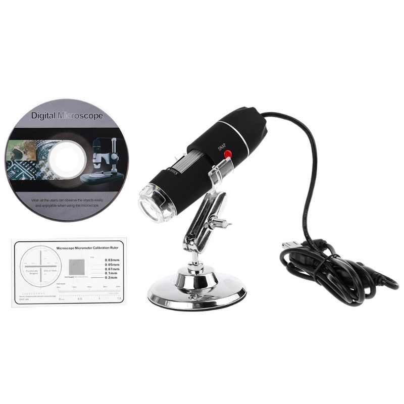 1600X Camera 8LED OTG Endoscope USB Digital Microscope Magnification with Stand Microscopes     - title=