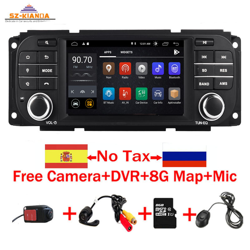 """Lecteur DVD de voiture Android 10.0 5 """"pour JEEP Grand Cherokee Liberty Wrangler pour Chrysler pour Dodge GPS Radio stéréo sans DVD Wifi 3G"""