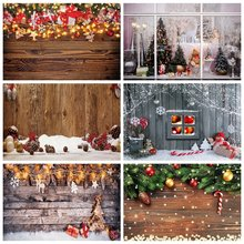 Laeacco Рождественская фотосессия деревянная доска сосновые