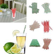 25 шт питьевой соломы одноразовые бумажные соломинки Рождество стиль соломинки посуда для напитков вечерние украшения