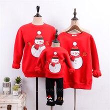 Семейные комплекты; Красный Рождественский свитер со снеговиком; новогодний Семейный комплект; зимняя теплая хлопковая бархатная Рождественская одежда для мамы и дочки