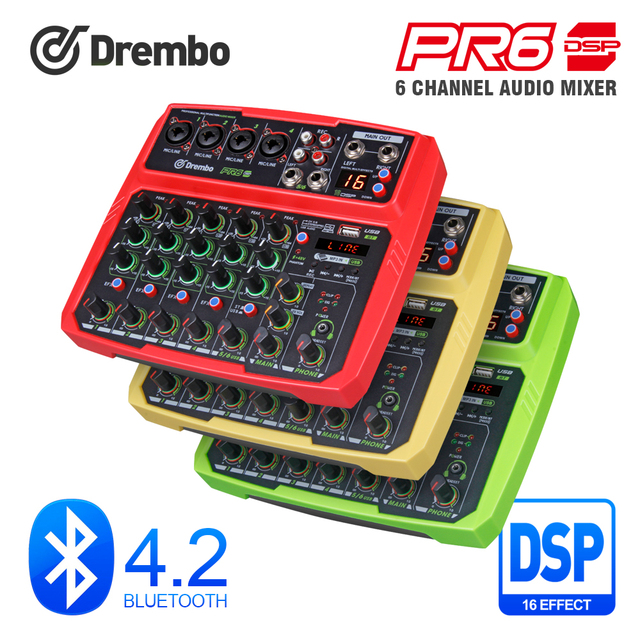 PRO PR6 6channel Protable digital audio mixer console with 16 DSP effect Sound Card,bluetooth, USB, for Karaoke DJ PC Recording