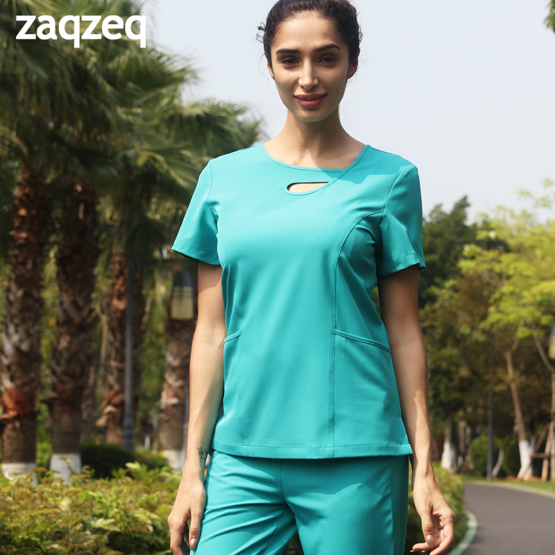 2019ZaqZeq/spring And Summer Operating Room Doctors  Short-sleeved Work Clothes Nurse Hand-washing Suit  Plastic Surgery Clothin
