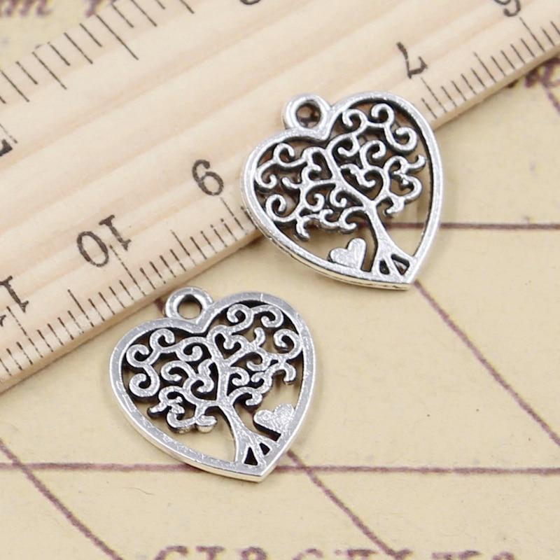 20pcs Charms Heart Life Tree 17x19mm Tibetan Bronze Silver Color Pendants Antique Jewelry Making DIY Handmade Craft