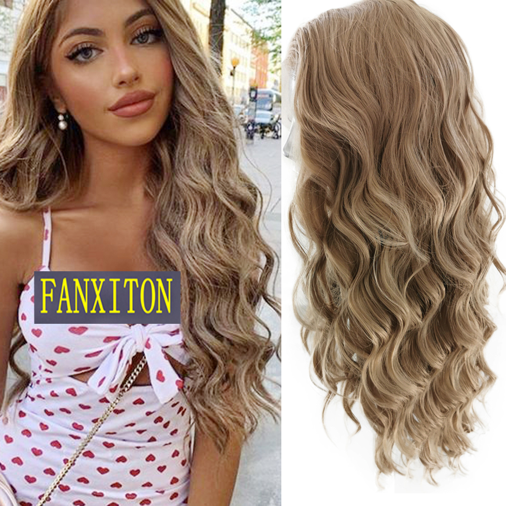 FANXITON Body Wave High Temperature Fiber Synthetic Lace Front Wigs Free Part Half Hand Tied 13X4 Lace Wigs For Women