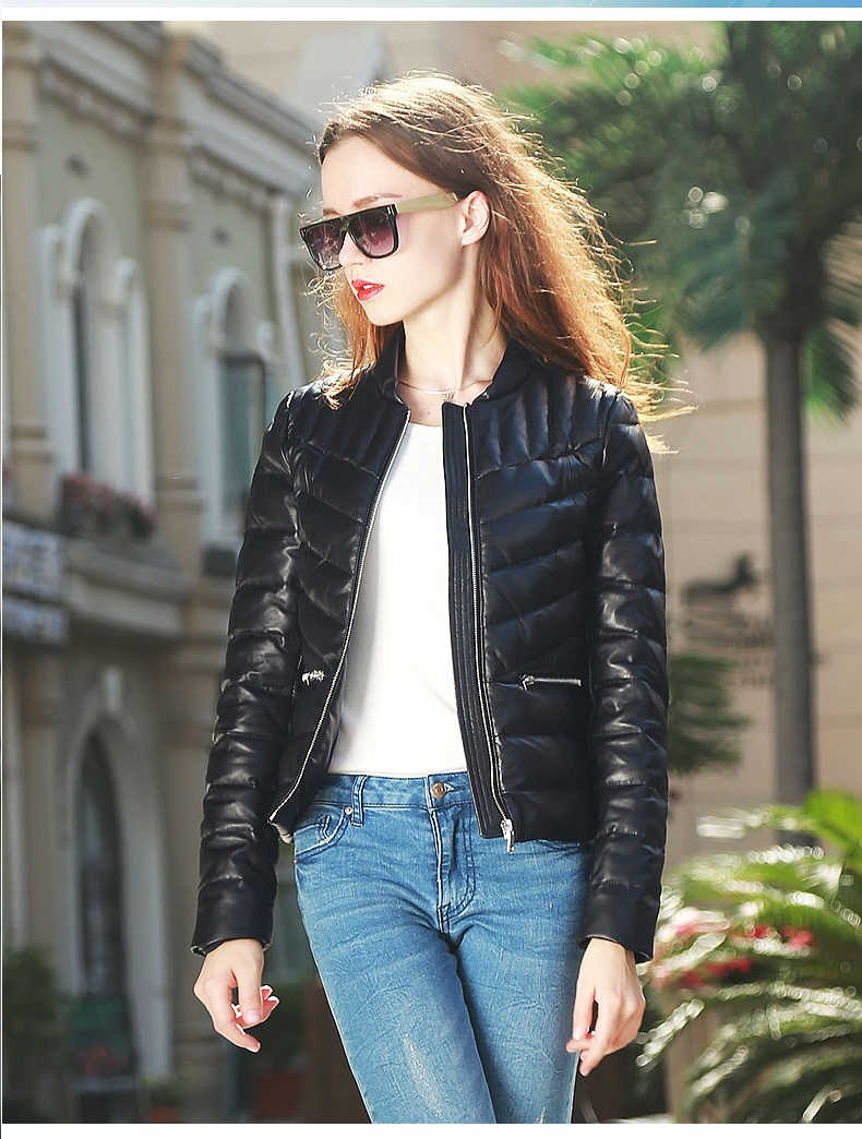 Free Shipping.Women Winter Warm Genuine Leather Jacket.fashion White Duck Down Sheepskin Coat.quality Outwear.quality,sales