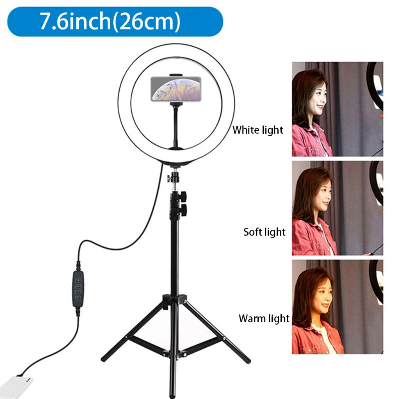 7.6in LED Selfie Ring Lamp with Tripod Stand and Cellphone Holder Kit for Mobile Phone Live Fill Light Vlog Video Light