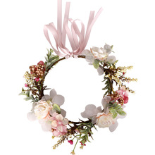 Children's headdress wreath headband pink ribbon bow headband flower hair accessories