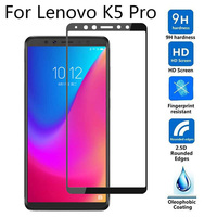 Protector de pantalla de versión Global 9H 5D negro para Lenovo K5 Pro, vidrio templado de cobertura completa para Lenovo K5 Pro L38041