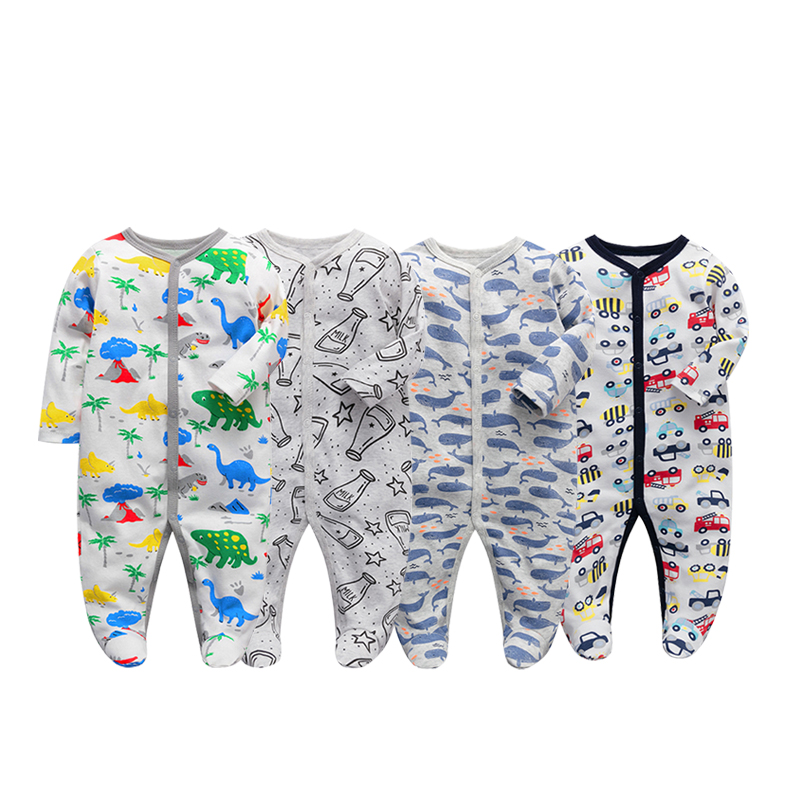 Image 5 - 3 pieces/lot Baby Rompers Newborn Baby Girls Boys Clothes 100% Cotton Long Sleeves Baby Pajamas Cartoon Printed Babys Setsbaby romper longbaby romperscotton baby romper -