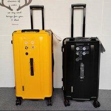 """Carrylove 25 """"28"""" polegadas amarelo luxo mala de viagem grande trole troncos spinner bagagem saco com rodas"""