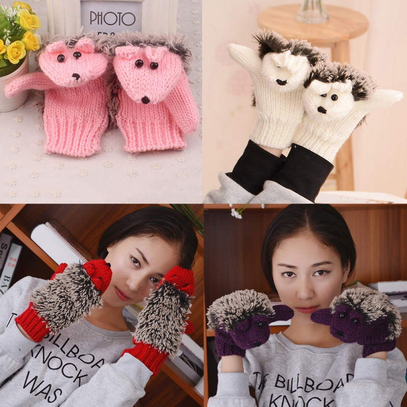 Novelty Cartoon Winter Gloves 8 Colors For Women Knit Warm Fitness Gloves Full Finger Hedgehog Heated Villus Wrist Mittens.w