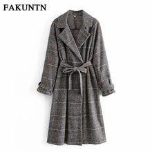 Длинные пальто fakuntn Женская клетчатая куртка осень 2021 женская